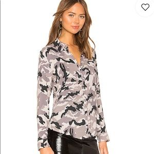 NWT CHASER Long Sleeve Button Down Top Camo